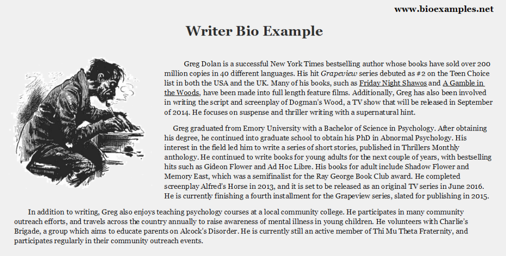 Book proposal author bio example
