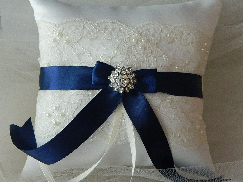 Wedding Ring Bearer Pillow Navy Blue And Ivory Satin And Lace Ringbearer Pillow