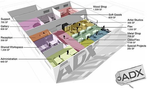 The floor plan for ADX. | Interiors – Learning Spaces | Pinterest ...