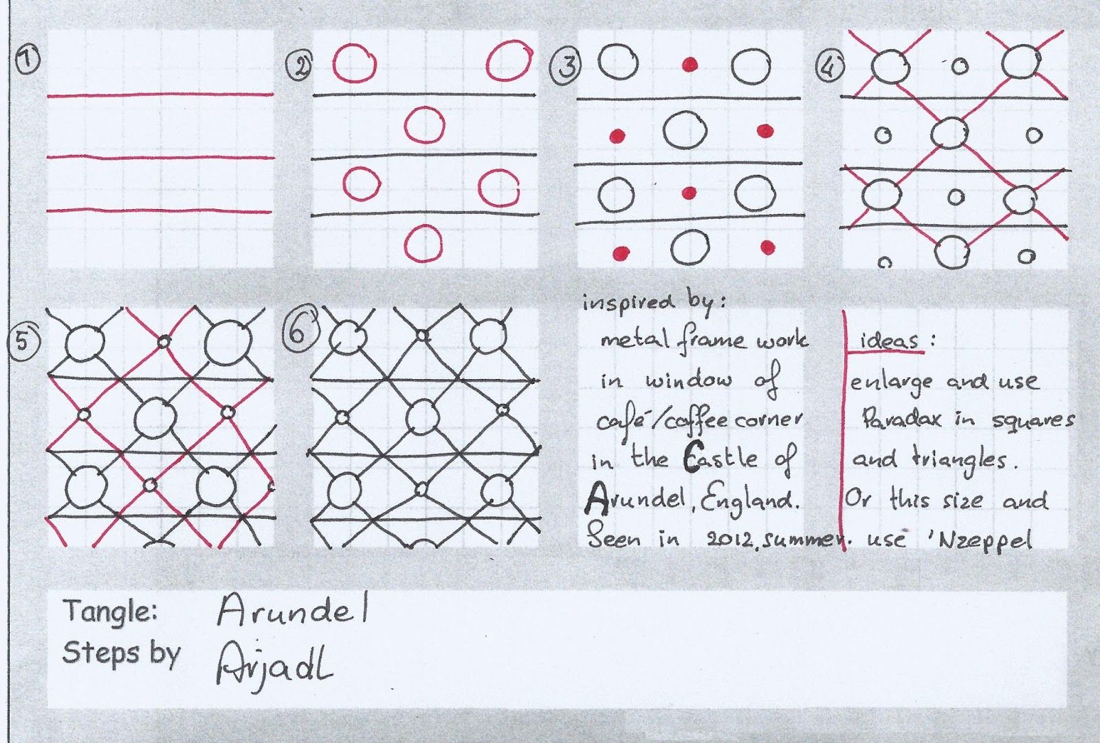 """elefantangle: Nieuwe zomer tangle: Arundel / new summer tangle: Arundel CZT Arja de Lange-Huisman of Gouda in the Netherlands shares the tangle Arundel with us.  Arja deconstructed this from the pattern she observed in the """"metal framework of a window in a café"""". The café is located in the medieval Arundel Castle, in the market town of Arundel about 50 miles southwest of London, England. http://elefantangle.blogspot.com/2013/06/nieuwe-zomer-tangle-arundel-new-summer.html"""