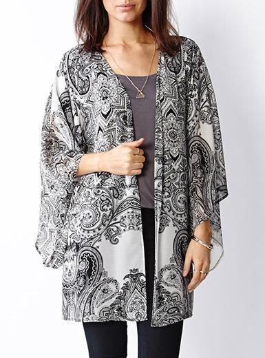 Modified Kimono Style Outer Wrap - Chiffon