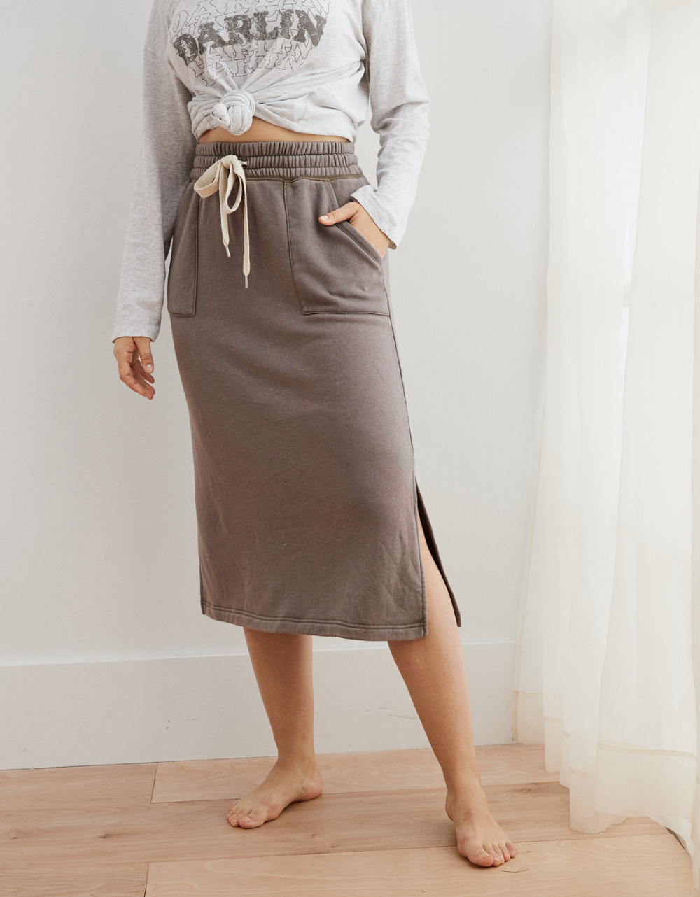 Aerie Sunday Soft Midi Skirt | Casual going out outfits ...