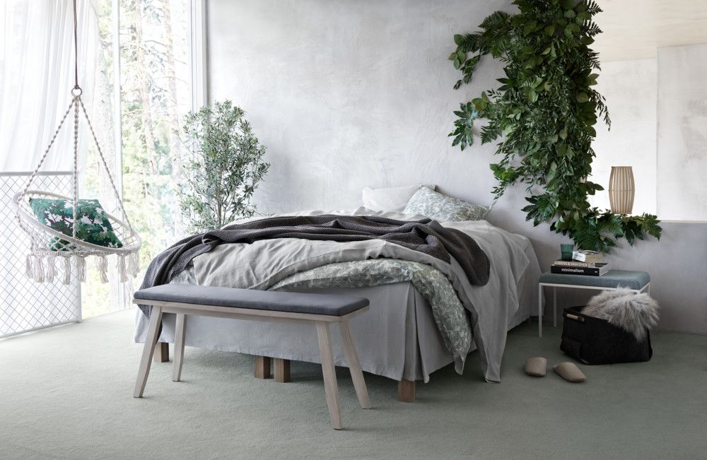 Grey Bedroom With Plants And Hanging Chair Eclectic Bedroom Modern Grey Bedroom Small Grey Bedroom
