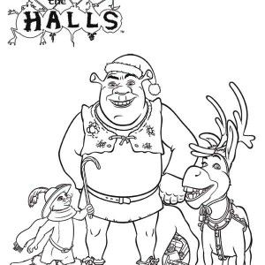 Shrek Shrek And Friends On Christmas Coloring Page Shrek And