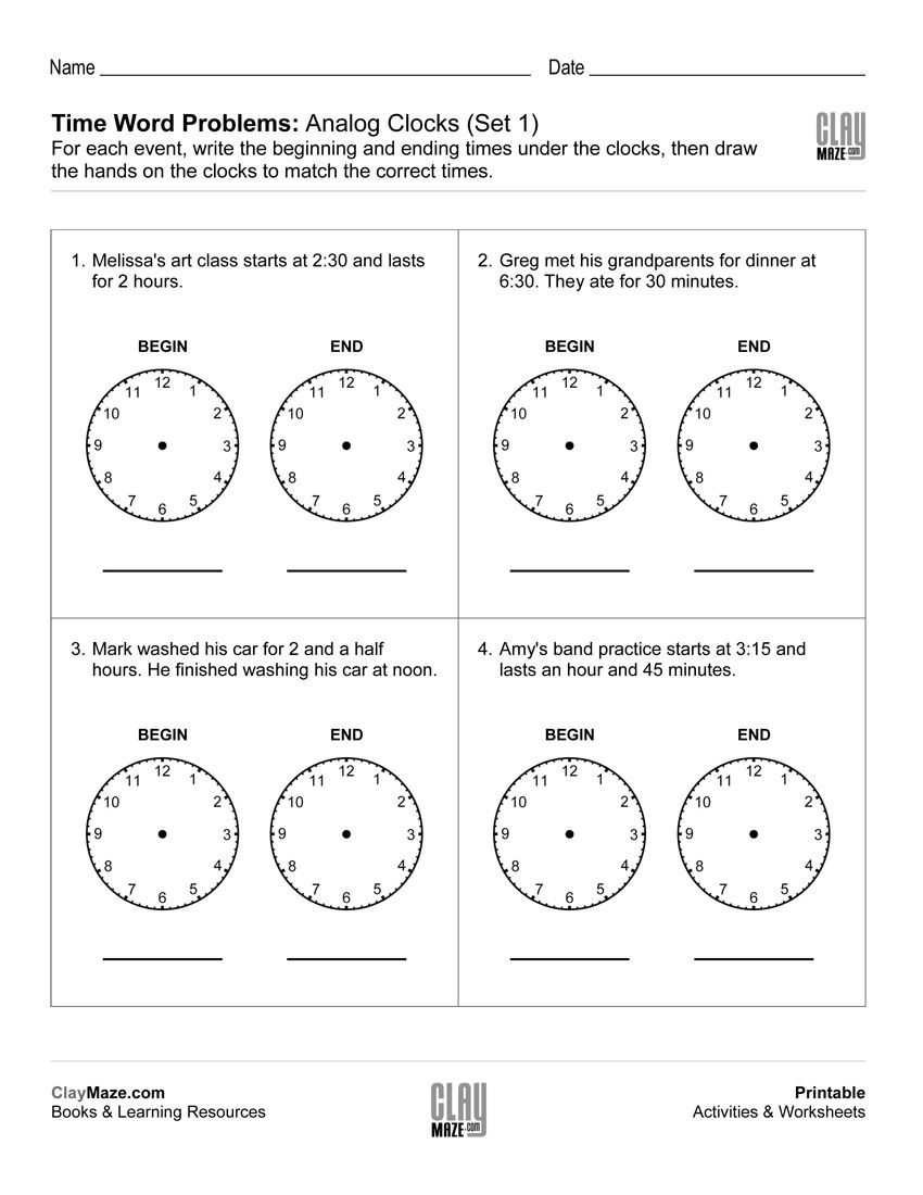 Time Word Problems Analog Clocks With Images Time Word