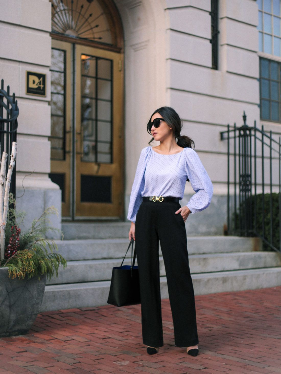 Petite Black Pants For Workwear Outfits With Leggings Office Outfits Business Casual Outfits [ 1462 x 1100 Pixel ]