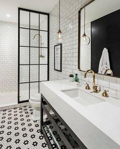 Industrial Bathroom Design Industrial Bathroom With Antique Brass Fixtures White Bathroom Designs Modern Farmhouse Bathroom Bathroom Design