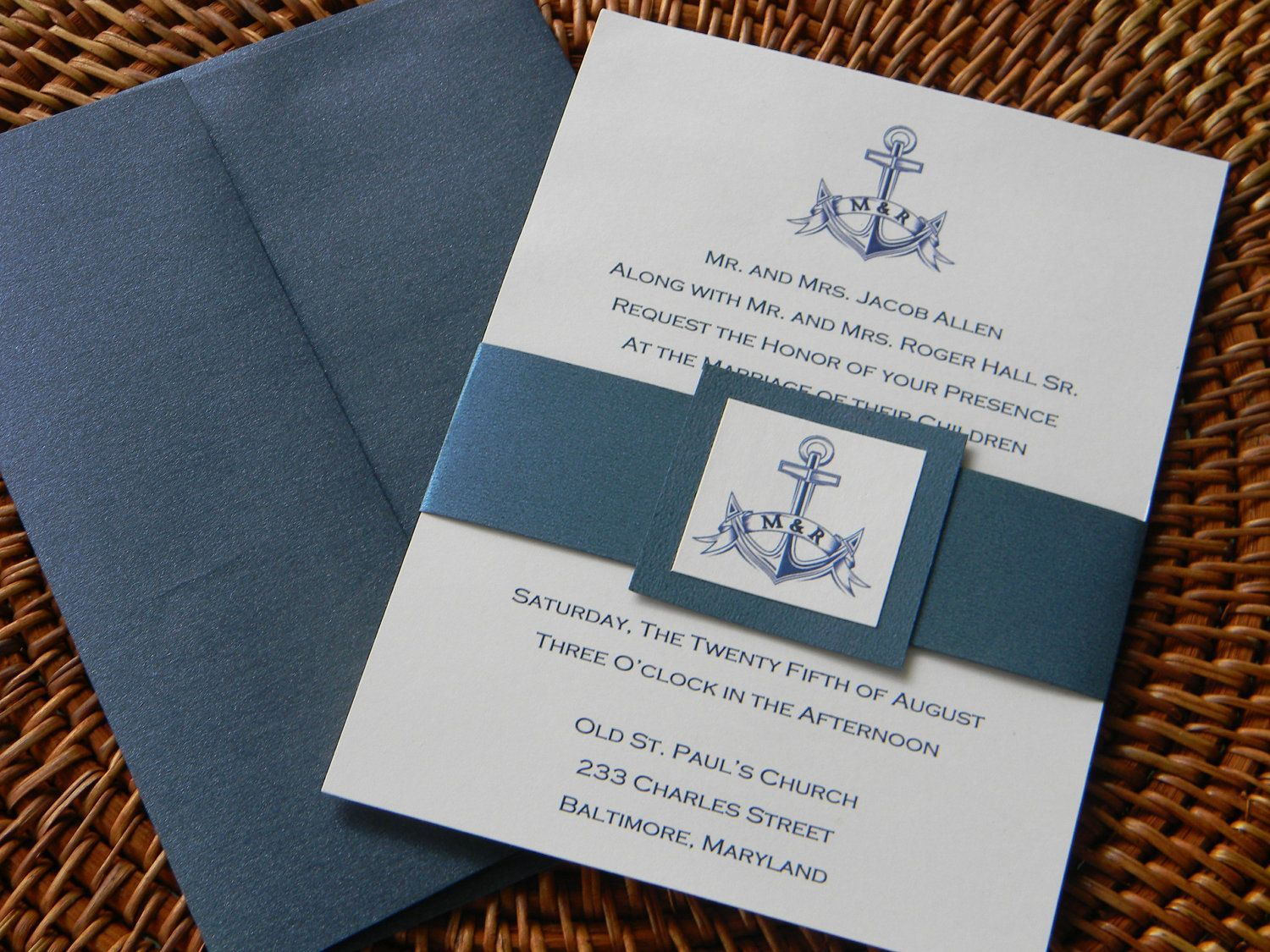Nautical Wedding Invitation Suite With Metallic Envelopes And Belly - Wedding invitation templates: publisher wedding invitation templates