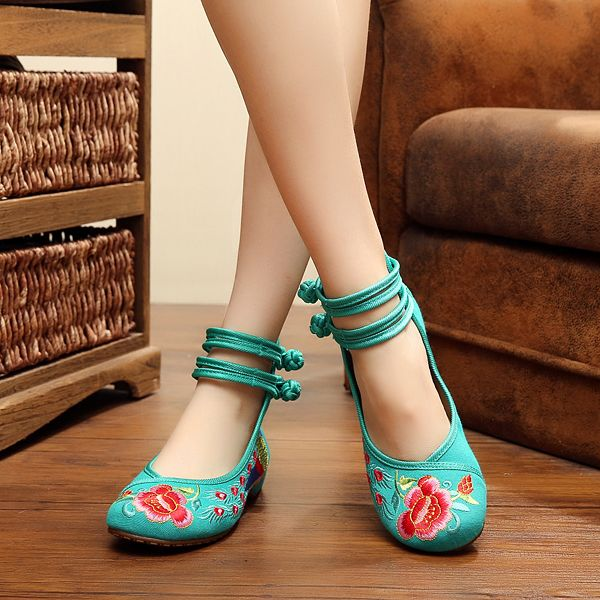 Flower Cloth Embroidered Shoes Vintage Folk Style Flower Flats - US$18.76