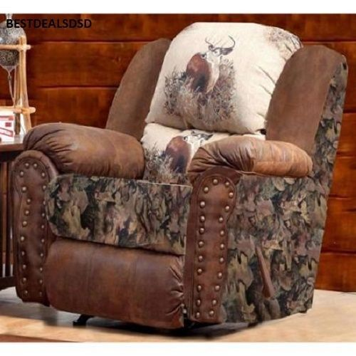 Camo Deer Recliner Rustic Man Cave Chair Office Lodge Trophy Buck Sofa New Sale Camo Living Rooms Living Room Sets Furniture Chelsea Home Furniture