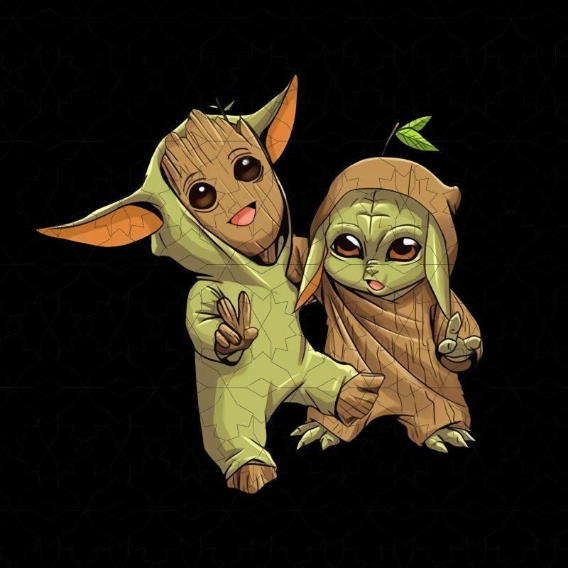 Baby Yoda And Groot Novelty T Shirt Design For Download In 2020