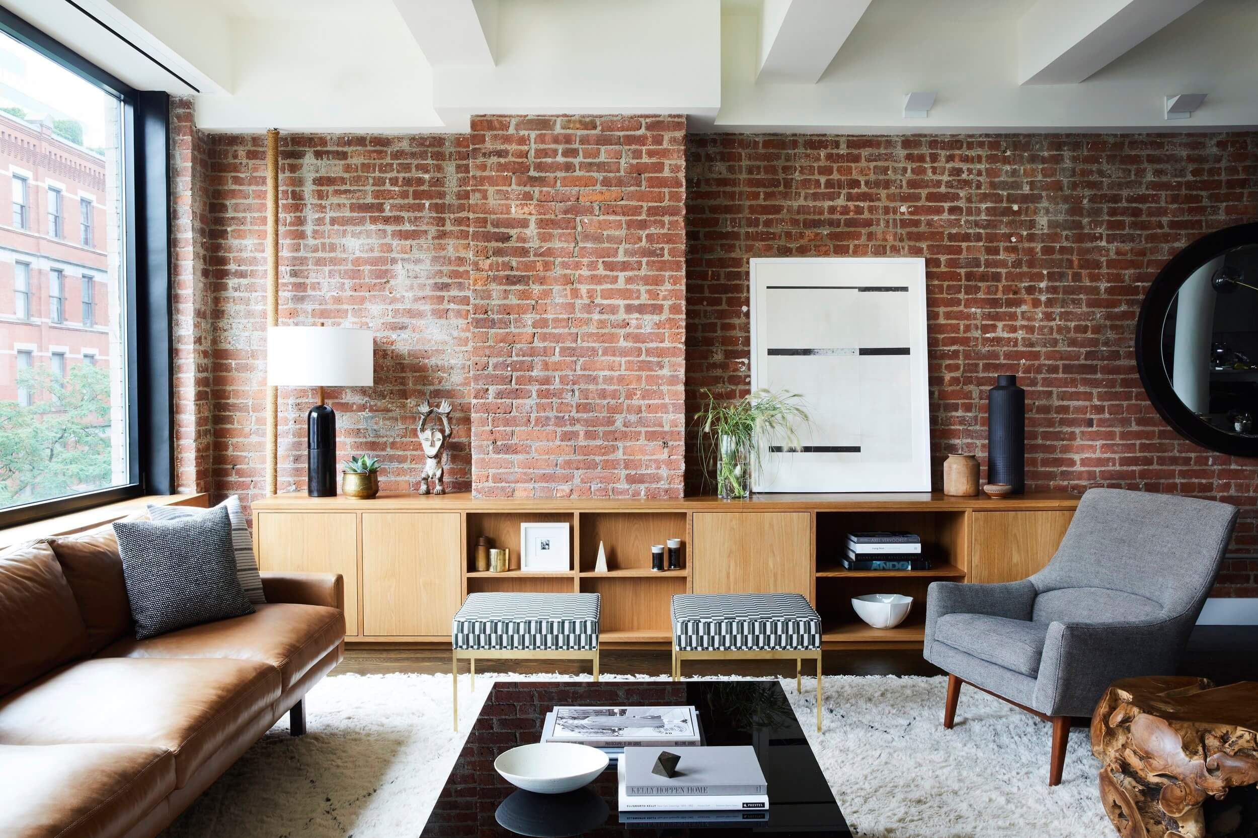 Discover The Brick Accent Wall Done Two Ways Two Rooms Take On The Exposed Brick Wall B Brick Living Room Brick Wall Living Room Minimalist Living Room Decor