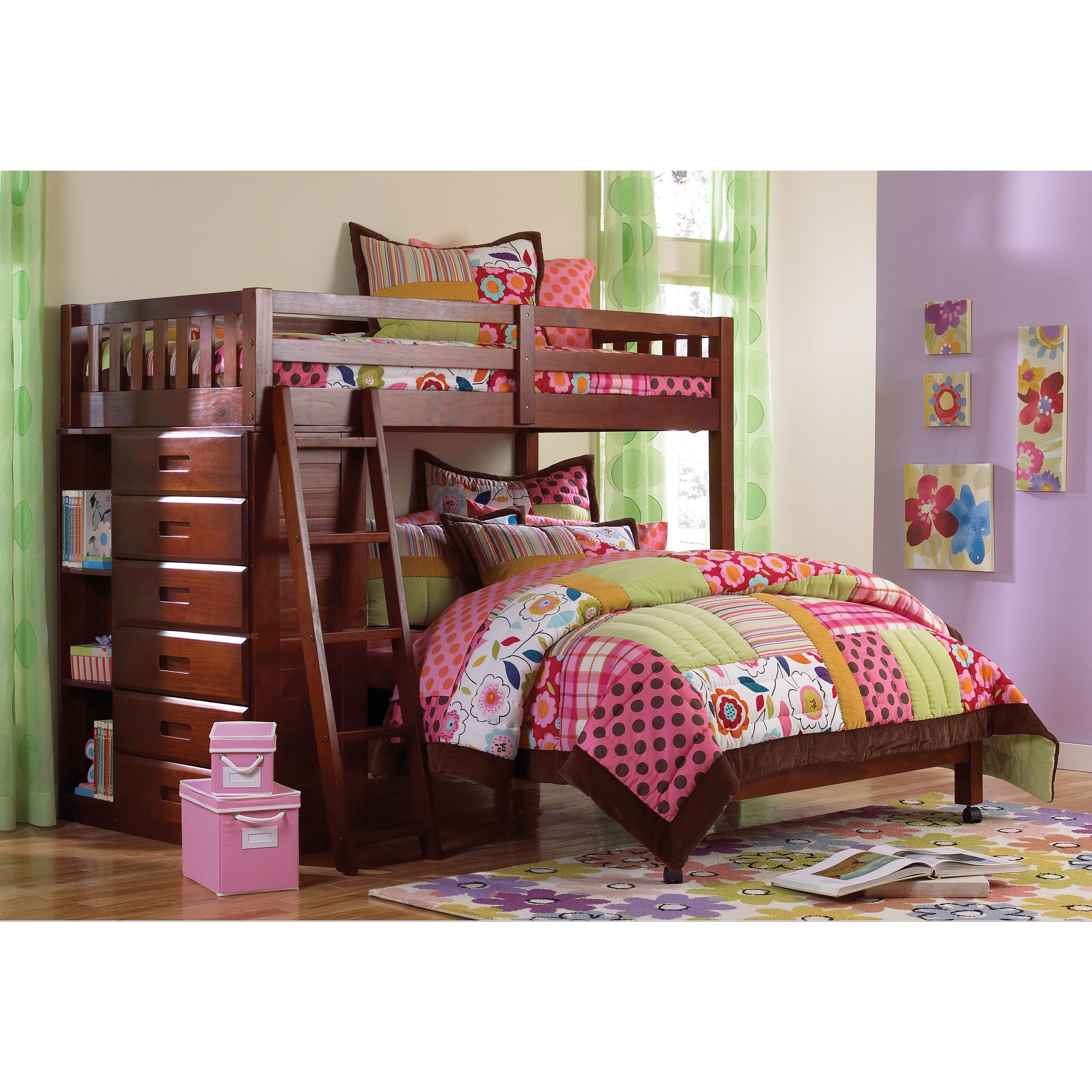 Loft over bedroom  This loft bedus rich merlot finish features a twin over full bunk