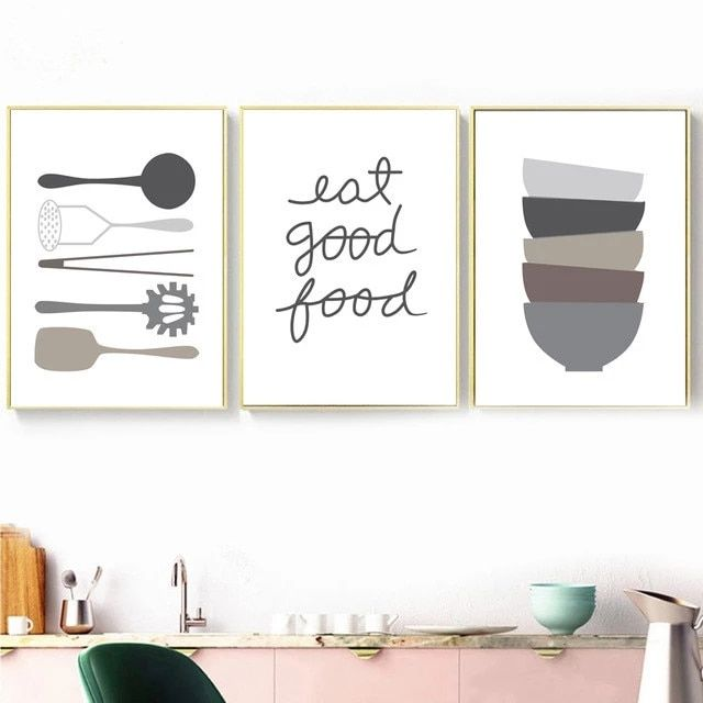 Kitchen Ware Spoon Bowl Quotes Minimalism Wall Art Canvas Painting Nordic Posters And Prints Wall Pictures For Dining Room Decor
