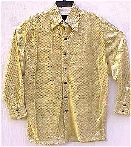 This is the conspicuous gold button-down shirt that Lucky the ...