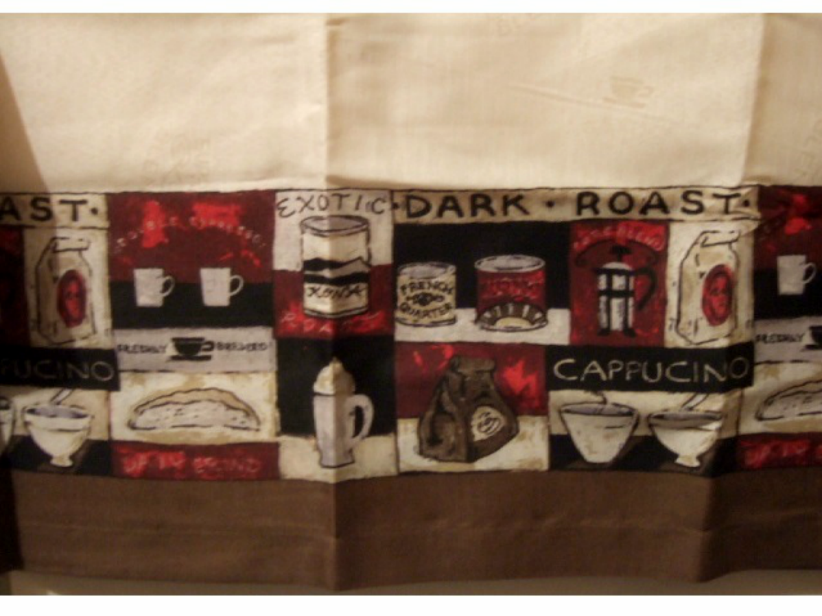 Elegant Coffee Themed Kitchen Curtains Valance Window Topper $14.95