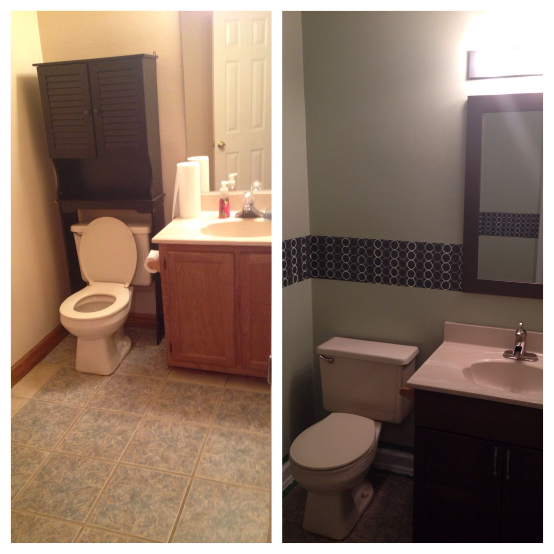 Before And After Half Bath The Circles Were Painted On
