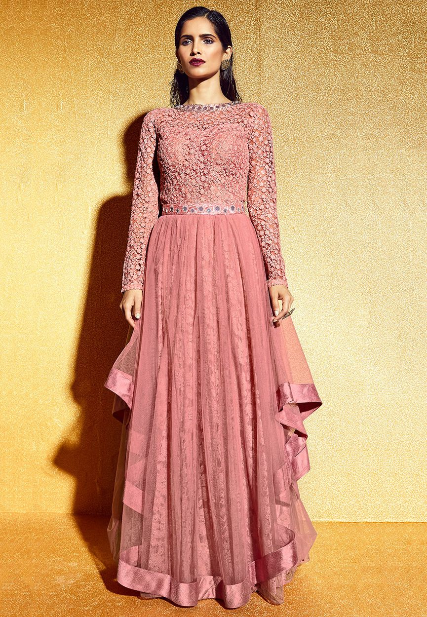 Buy Embroidered Net Abaya Style Suit in Old Rose online, work ...