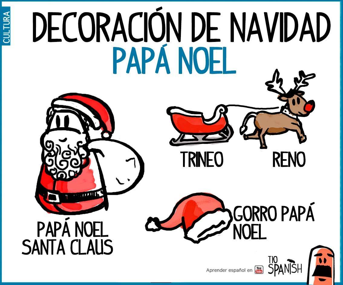 Babbo Natale In Spagnolo.Vocabulario Papa Noel Espanol Decoracion Navidad Joulu