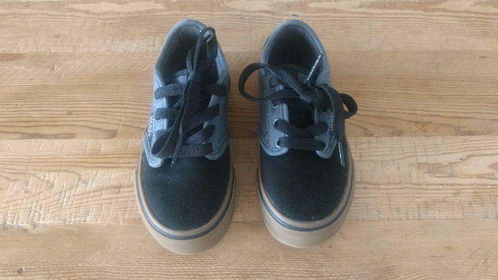Vans Toddler Boy Size 10 5 Black 2 Toned Canvas Lace Tennis Shoes Fashion Clothing Shoes Accessories Babyt Baby Shoes Tennis Shoes