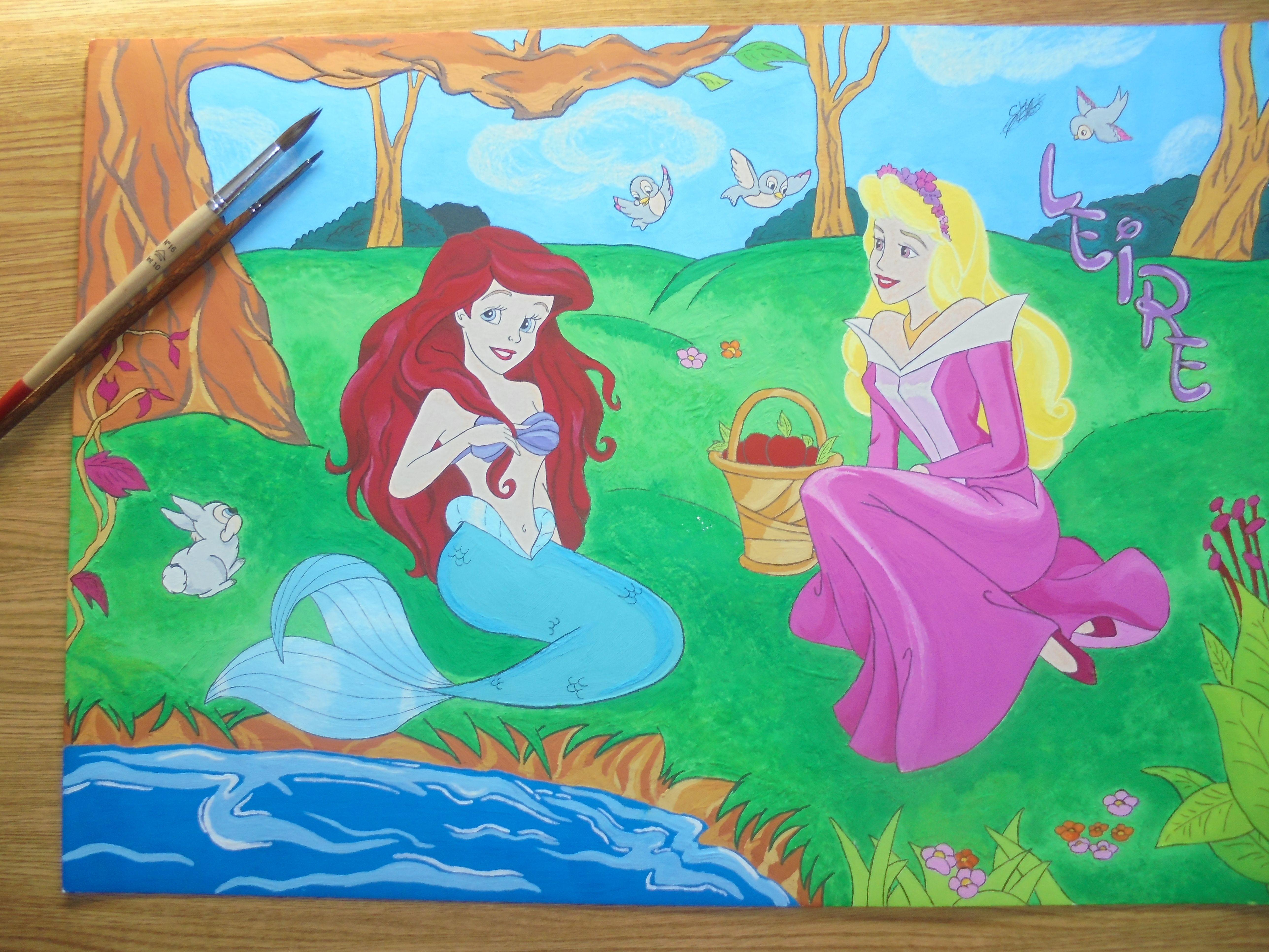 Cuado Princesas Disney. Dibujo Gouache/tempera. | Dibujos a color ...