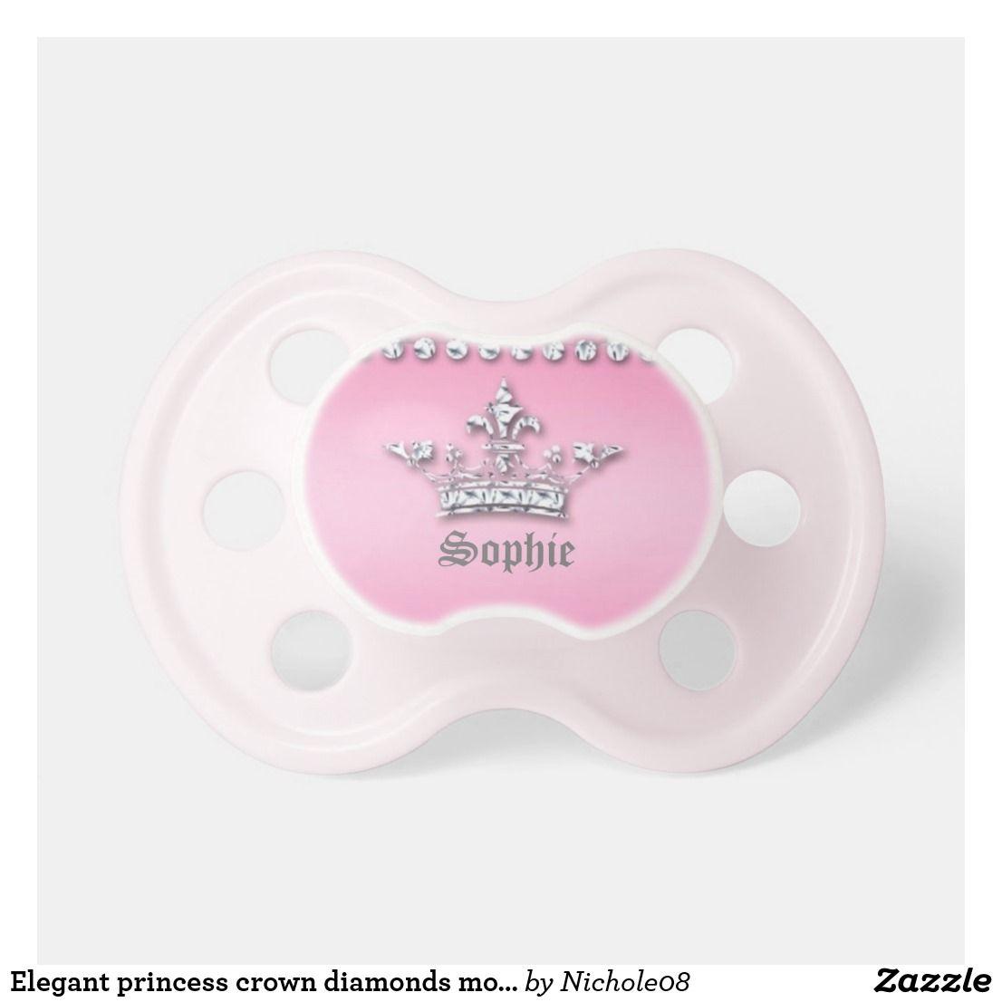 Elegant Princess Crown Diamonds Monogram Pacifier