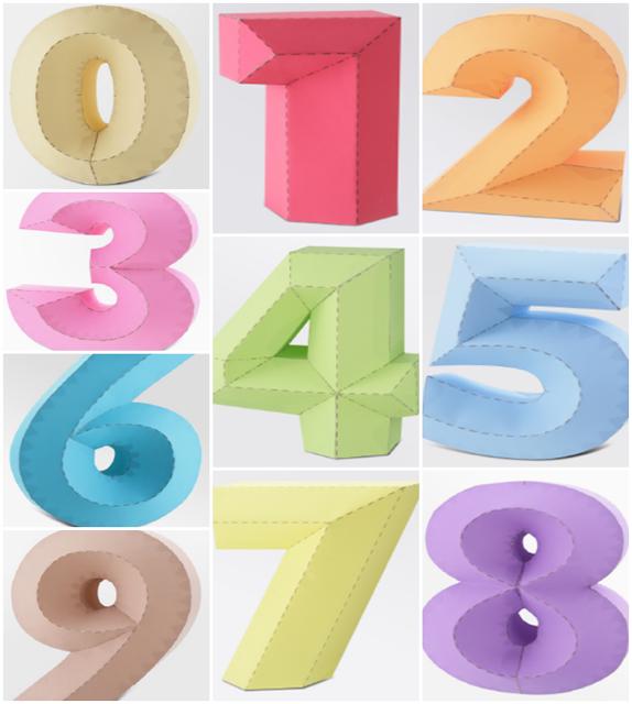 Números 3d 4d Numeros 3d Decoración De Origami Cartas De Papel