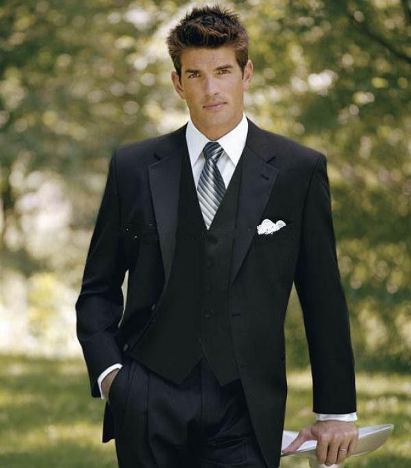 Classic black suit with a splash of gray to connect with bridal ...