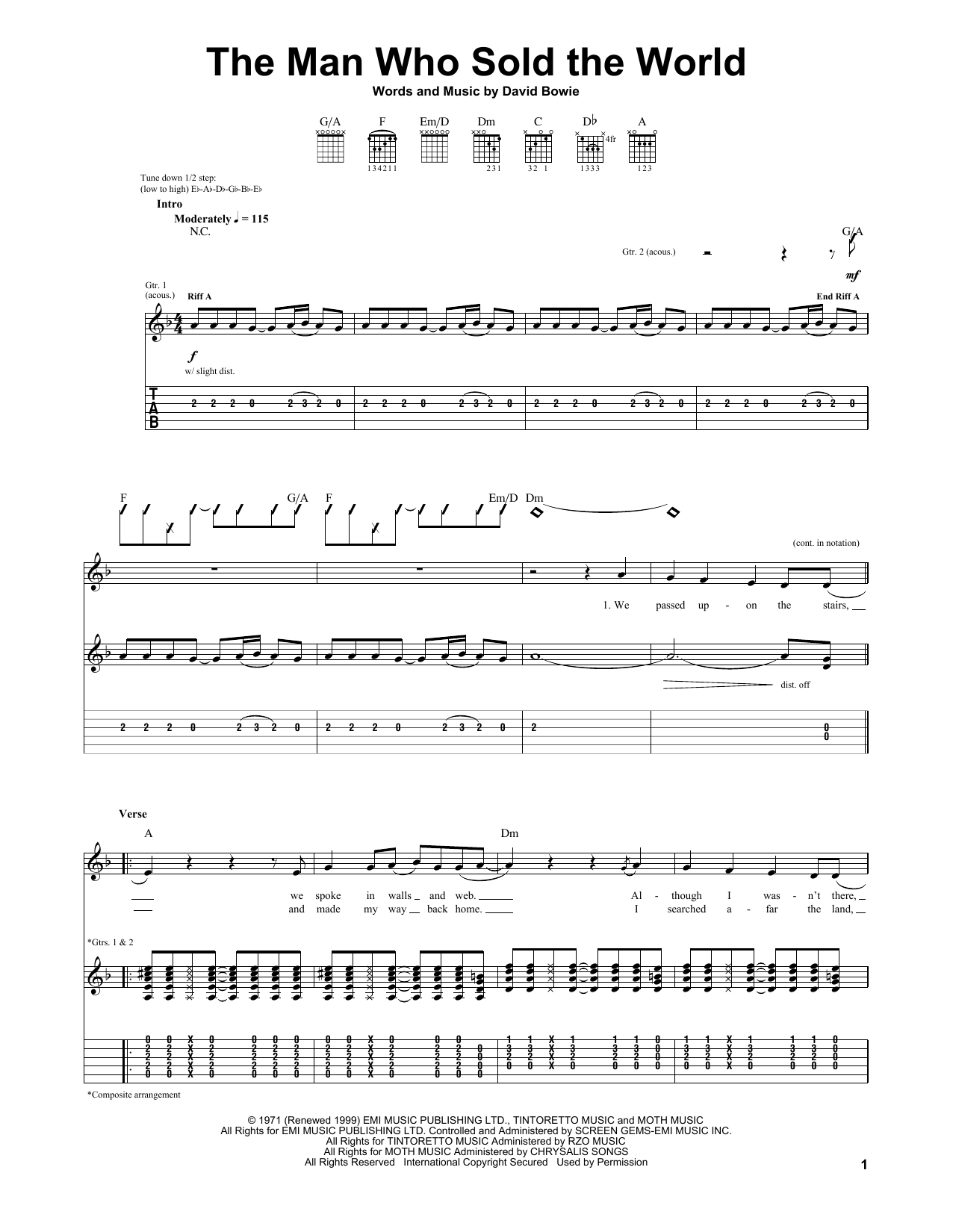 The Man Who Sold The World by Nirvana Guitar Tab Digital Sheet Music