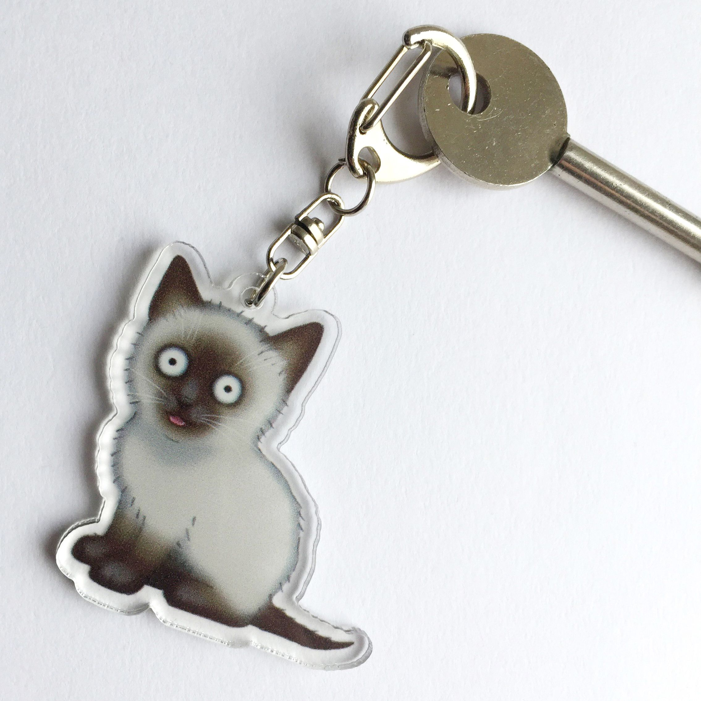 CRAZY CAT KEYRING