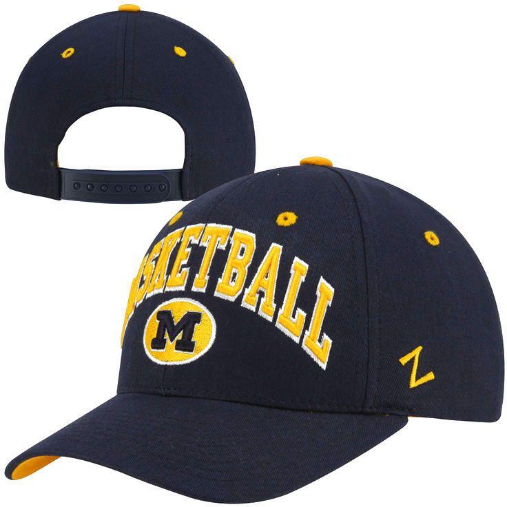 new arrival 176d9 72308 Zephyr Michigan Wolverines Basketball Team Color Adjustable Hat - Navy Blue  -  13.29