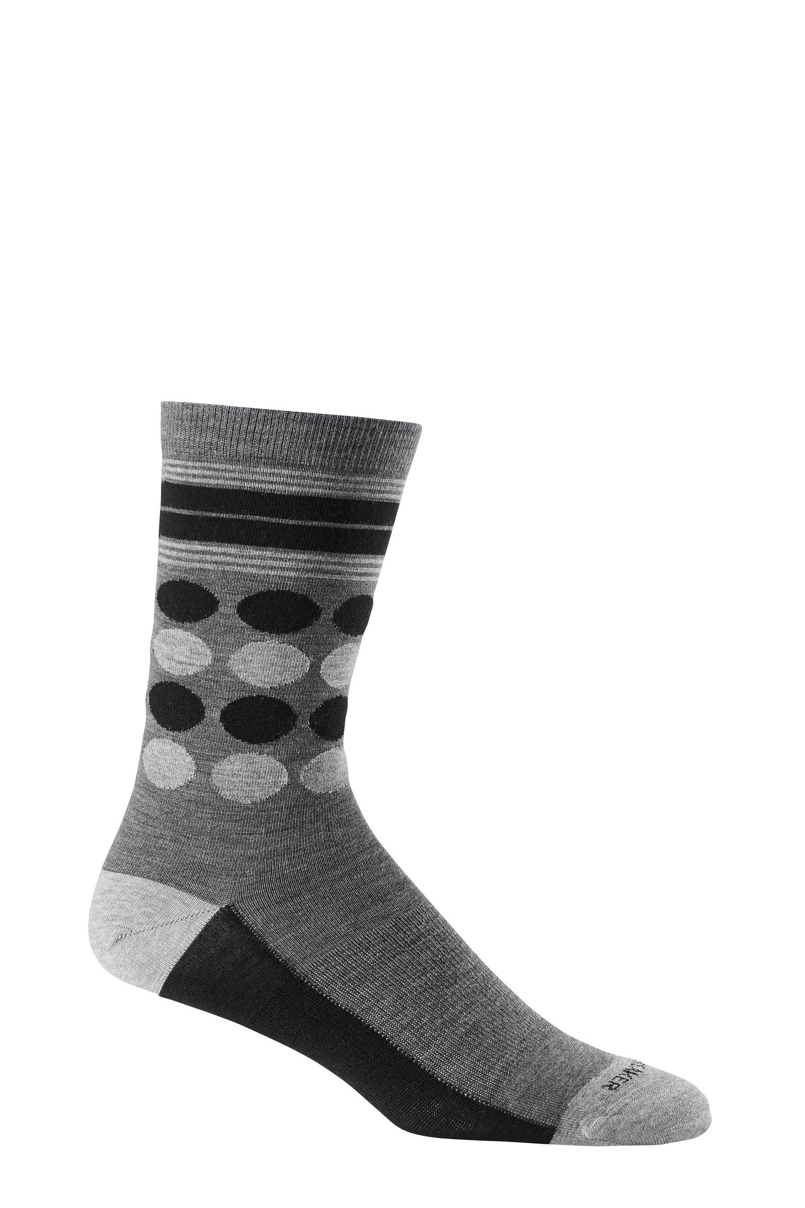 052371c365 Icebreaker Women's Lifestyle Fine Gauge Ultra Light Crew Dots Socks, Jet  Heather/Black/