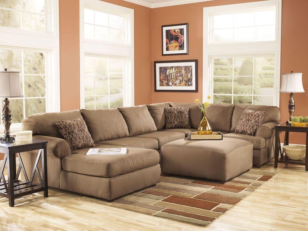 Finn Large Modern Mocha Microfiber Living Room Sofa Couch Chaise