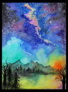 fun space galaxy and alien landscape painting in watercolor step by step process to three different space paintings exploring various techniques and