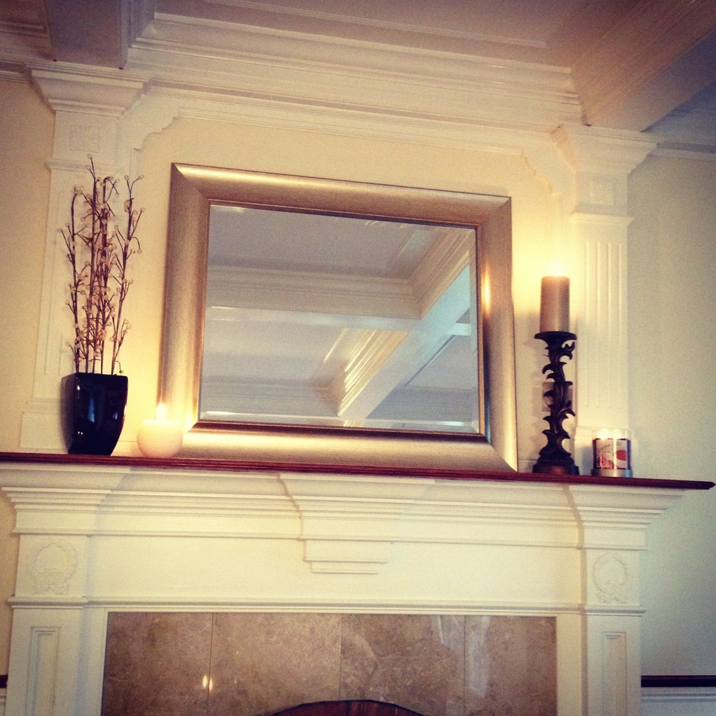 Fireplace mantle...columns on side, wall in the middle | Living Room ...