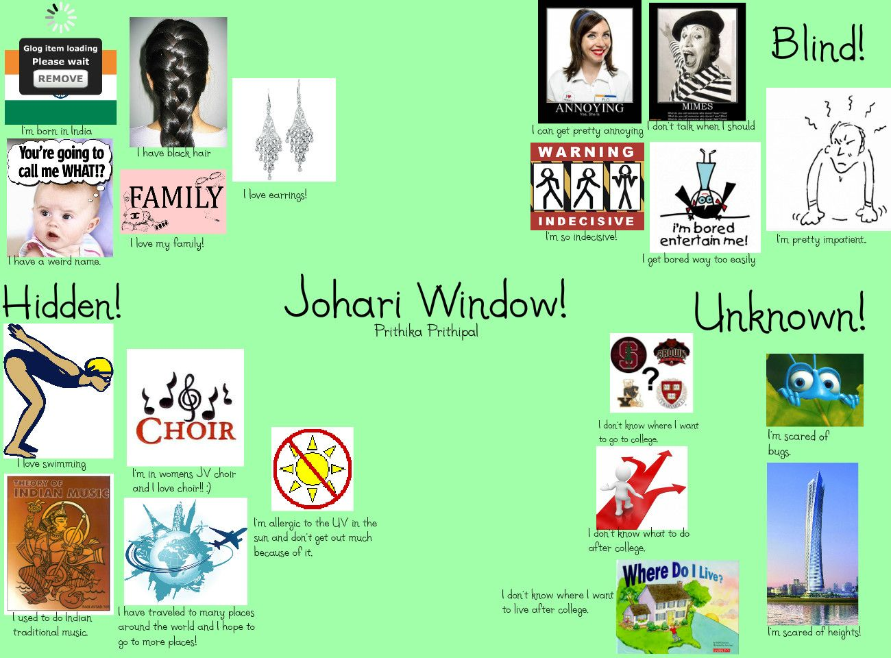 johari window assignment Learning to change 324 johari window this idea is being introduced at this point so that you can use it as you think about the impact of feedback the johari window is named after its originators, joseph luft and harrington ingram.