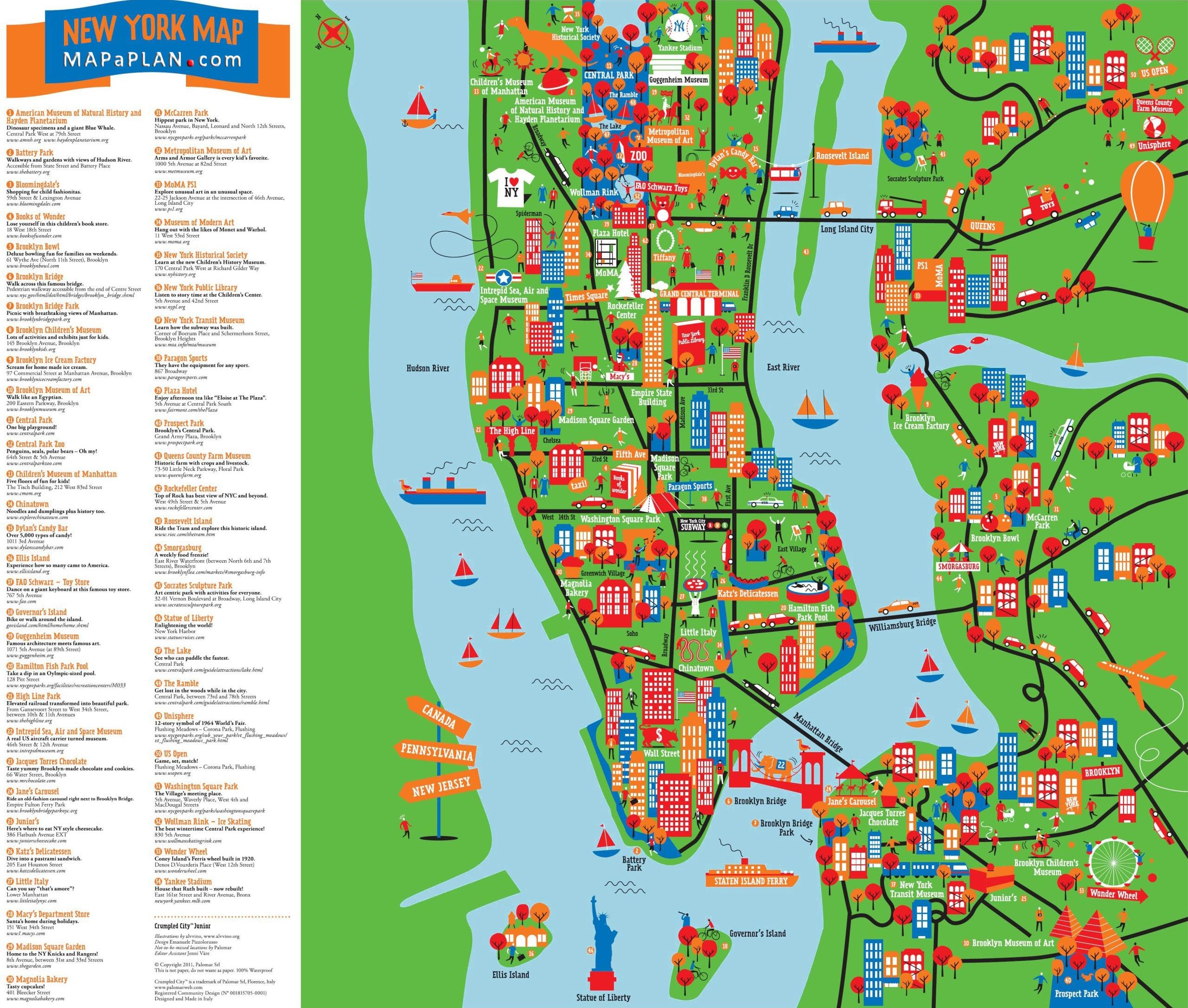 Map Of New York City Tourist Sites.Great Things To Do With Kids Children Interactive Colorful New York