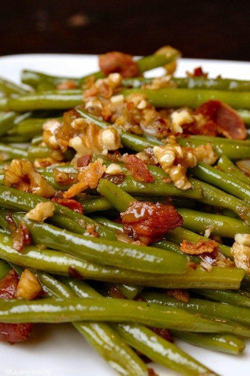 Haricots verts met walnoot en balsamico - Lovemyfood.nl