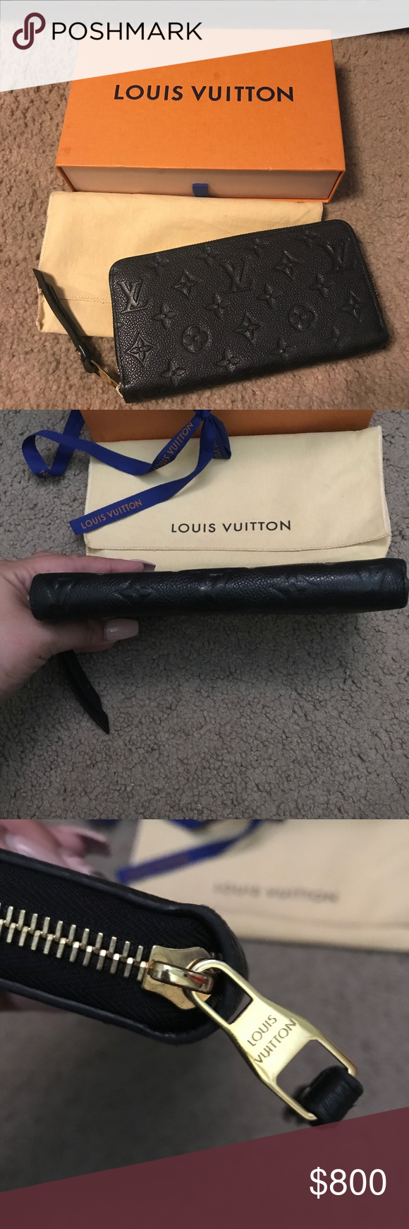 Louis Vuitton Empriente Noir Zippy Wallet Louis Vuitton Empriente Noir Zippy Wallet Preloved Still looks beautiful Light wear Small tear on the inside (not noticeable & does not affect using it)  Zips smoothly  No tarnish on the hard ware  Retail: $1050 + tax Comes with box, dust bag, and ribbon  Date Code: SP2106 100% Authentic  Can take less with other payment options. Will trade for LV items ONLY! Louis Vuitton Bags Wallets