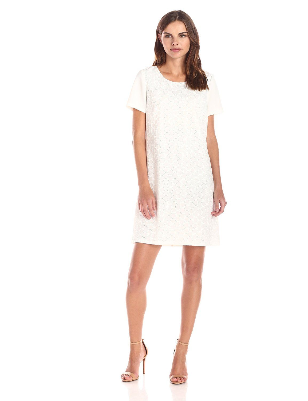 Robot Check Short Sleeve Shift Dress Casual White Dress Shift Dress [ 1500 x 1154 Pixel ]
