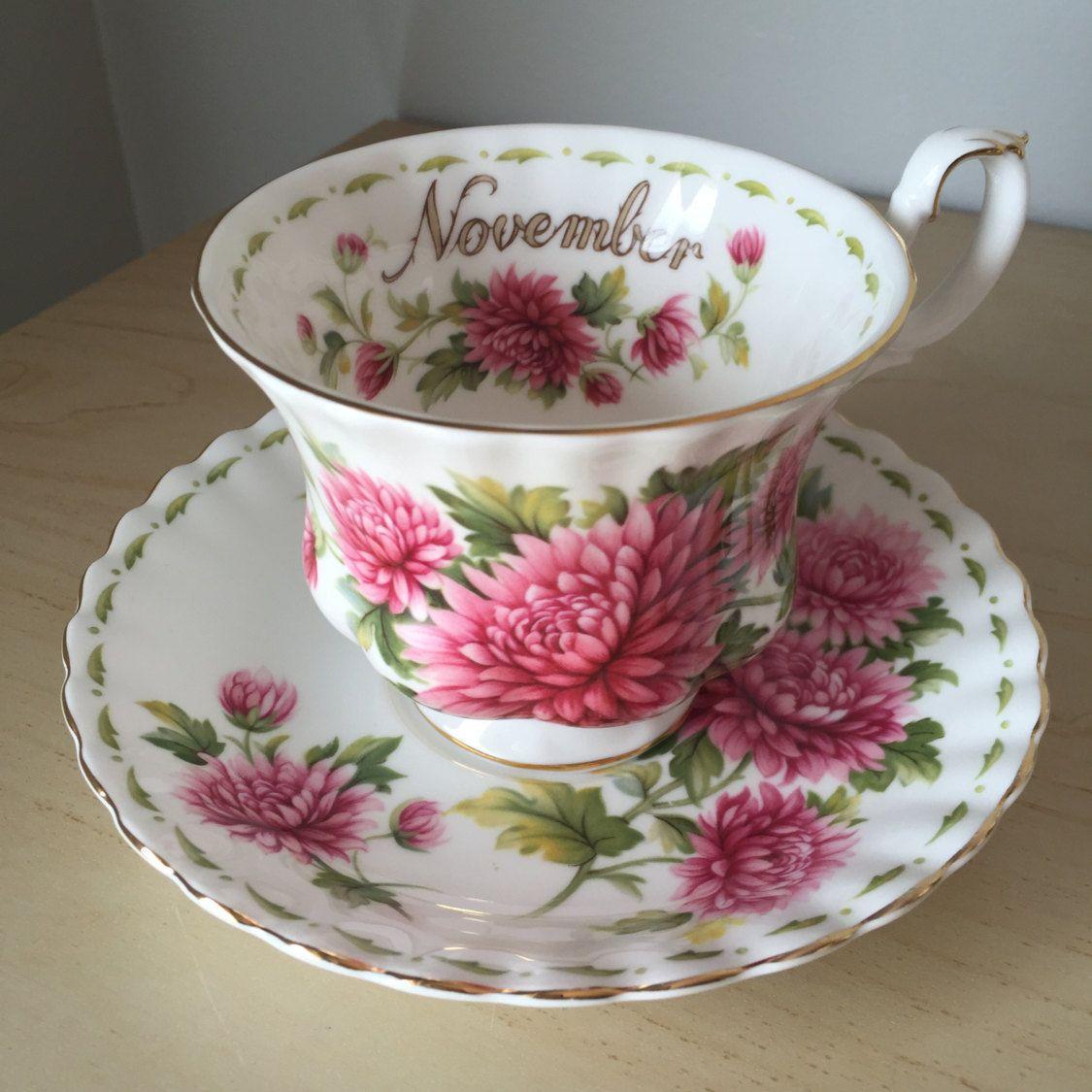 """Royal Albert """"November"""" Chrysanthemum Vintage Teacup and"""