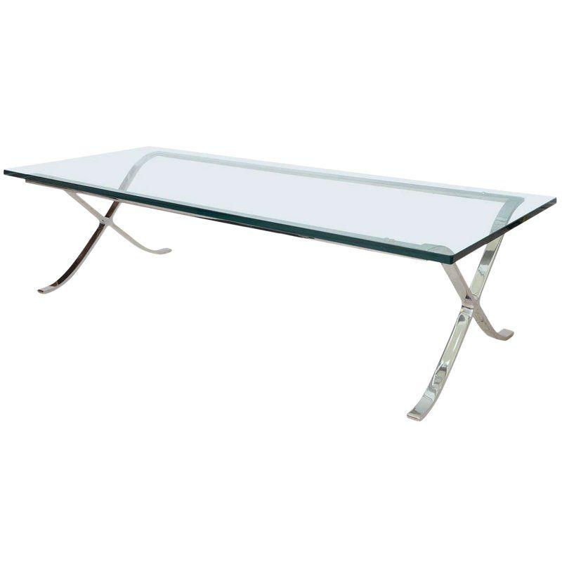 Modern Rectangular Glass And Polished Chrome X Base Cocktail Table Polished Chrome Rectangular Modern Coffee Tables