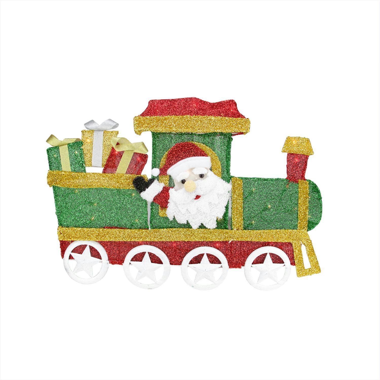 30 Lighted Tinsel Choo Choo Train Locomotive With Santa Claus