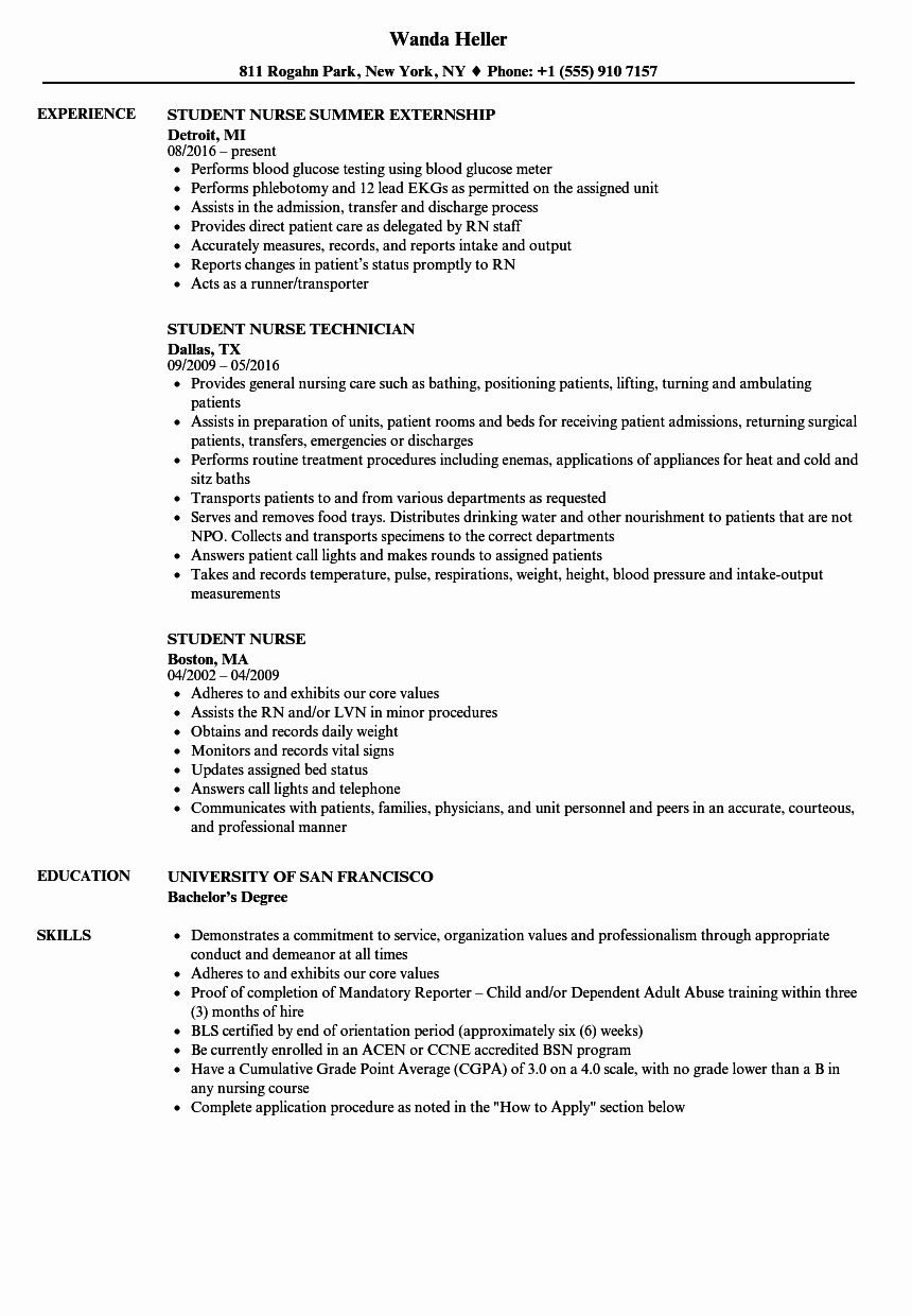Nursing Student Resume Template Unique Student Nurse