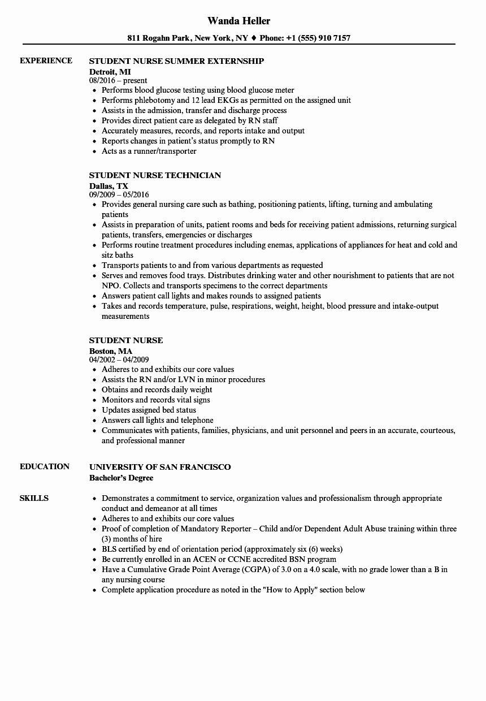 Nursing Student Resume Template Unique Student Nurse Resume Samples Student Resume Template Student Resume Student Nurse Resume