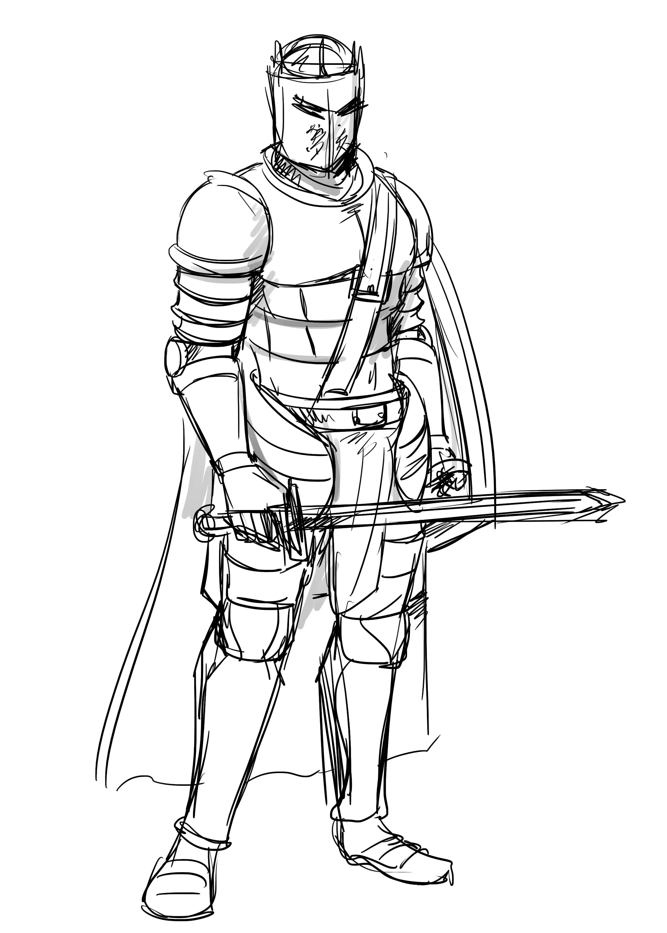 Pin by DracaCard on How to draw a Knight | Sketches, Drawings, Humanoid  sketch