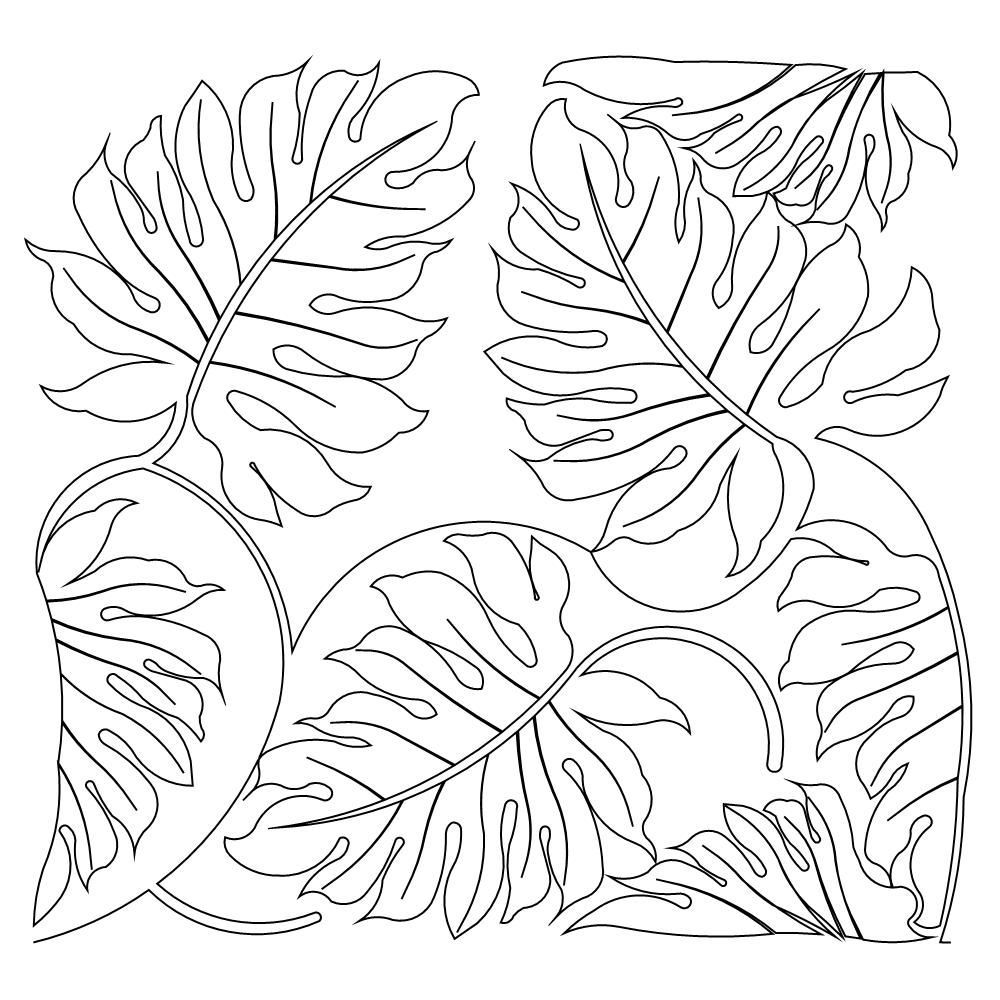 Leaves Coloring Page Jungle Leaf Pages Self Control Kawaii