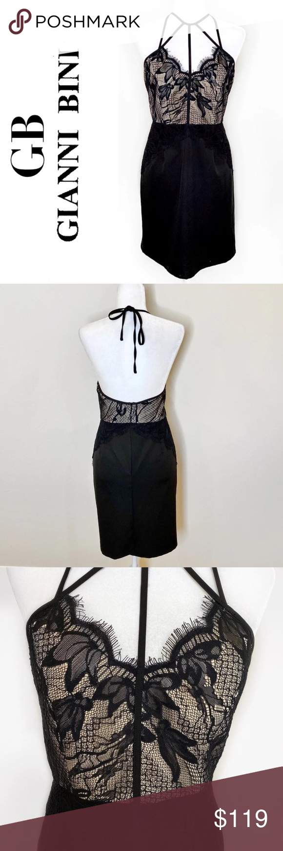 New Gianni Bini Black Lace Halter Mini Dress Xl Black Lace Halter Dress Halter Mini Dress Mini Velvet Dress [ 1740 x 580 Pixel ]
