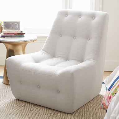 Modern Slipper Chair Wine Barrel Adirondack Gray Linen Furniture Pinterest Bedroom Pbteen