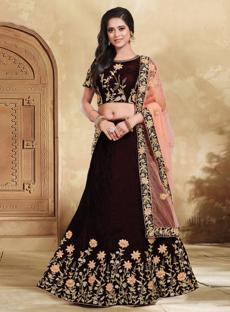 a8b411519f Buy Dark Brown Velvet Circular Lehenga Choli 146839 online at best price  from vast collection of Lehenga Choli and Chaniya Choli at  Indianclothstore.com.